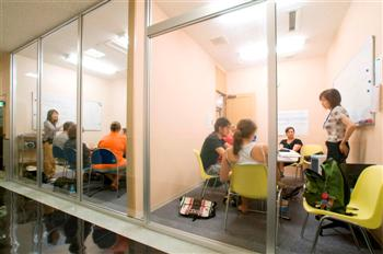 Glass-walled classrooms
