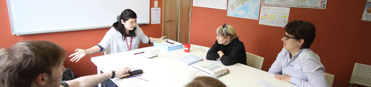 Japanese lesson classroom with GenkiJACS Fukuoka