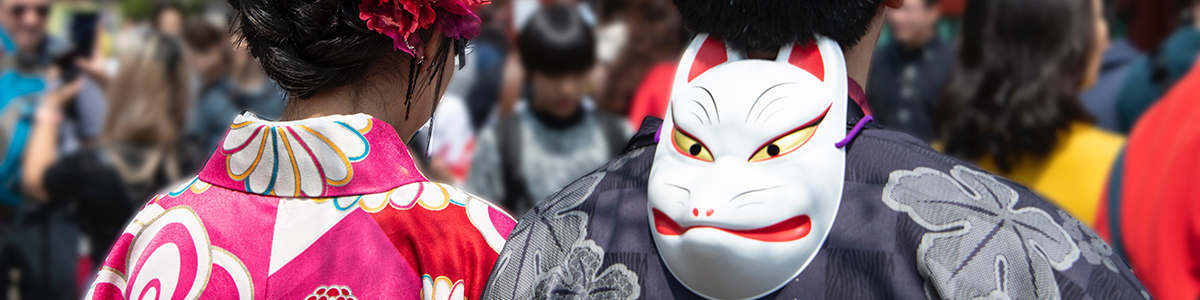 Couple at a festival in Kimono
